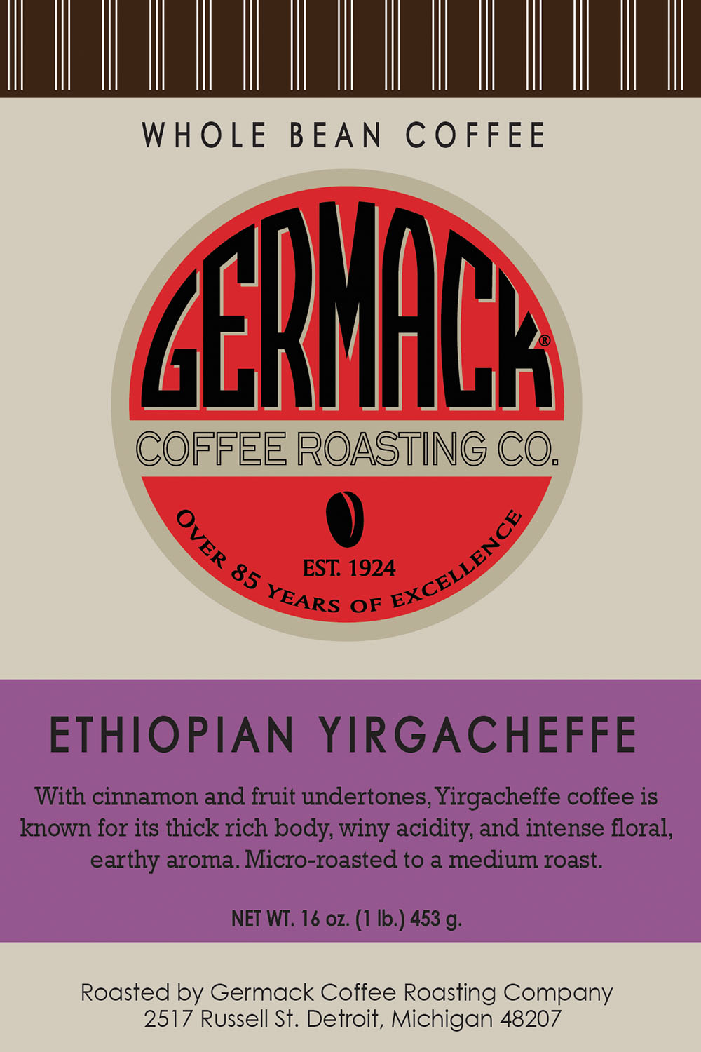 Picture Germack Coffee Ethiopian Yirgacheffe - 1 lb.