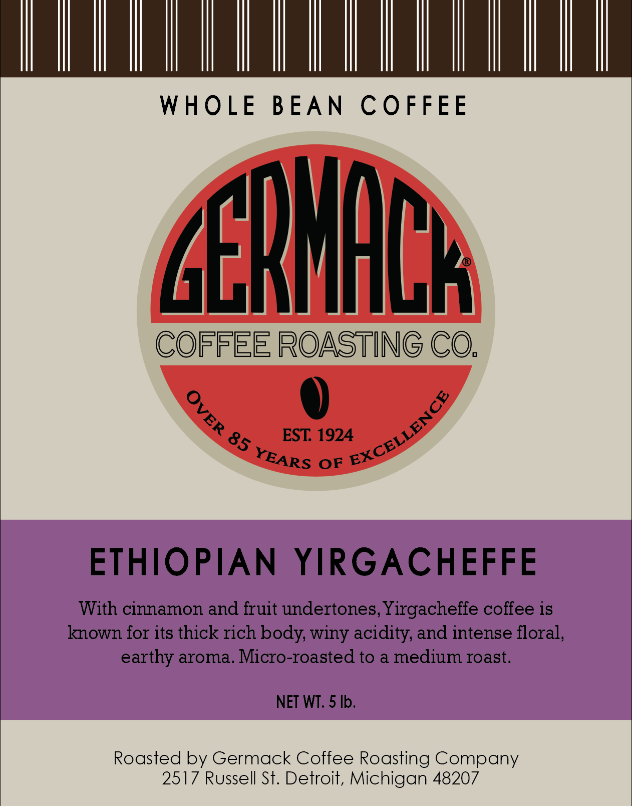 Picture Germack Coffee Ethiopian Yirgacheffe - 5lb