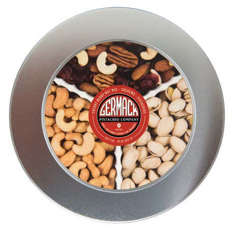"Picture Silver  Tin - Pistachios, Cashews, and Cherry Berry Nut Mix 29oz 8""*3"""