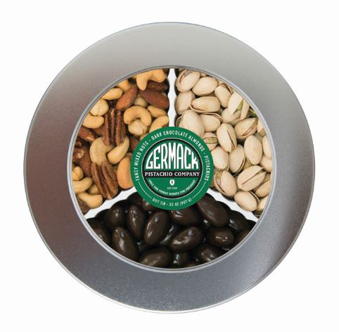 Picture Silver Tin - with Pistachios, Dark Chocolate Almonds and Fancy Mixed Nuts 32oz