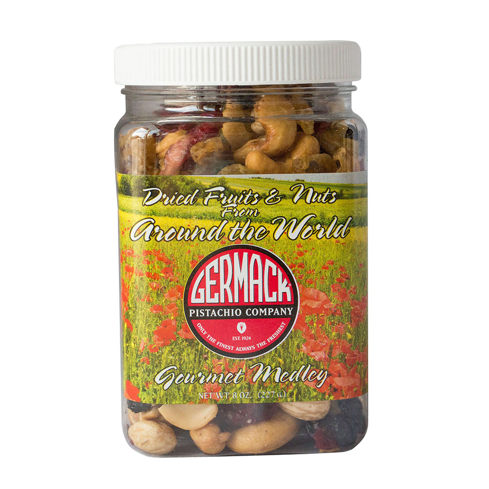 Picture Dried Fruits & Nuts from around the World Gourmet Medley- 8oz Jar